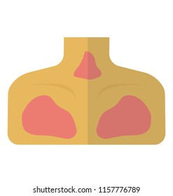 Faceless person having phlegm over his chest, chest infection icon vector