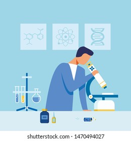 Faceless Scientist in Uniform Examining Drugs Sample under Microscope. Researcher Working at Cartoon Scientific Laboratory. Equipment, Reagents and Tripod with Tubes. Vector Flat Illustration
