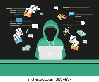 Faceless thief or hacker stealing login password, money, email, private messages and credit cards using virus. Flat criminal illustration of hacker coding bug to hack data. Internet security of thief