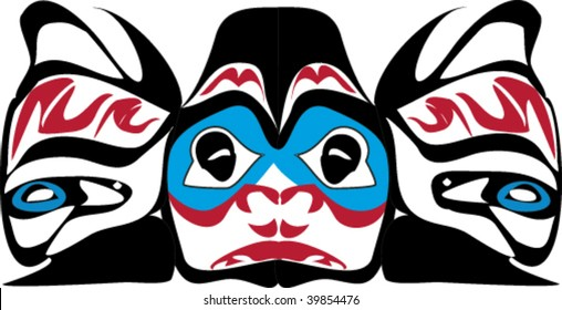 Face-on view of fish rendered in Northwest Coast Native style.