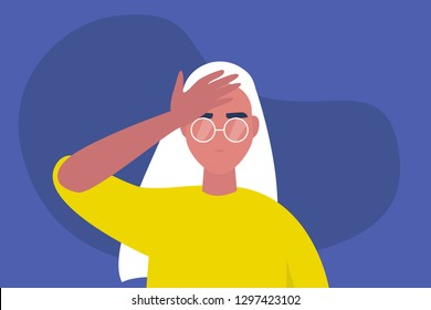Facepalm gesture. Problem. Trouble. Young female character with a hand palm on a forehead. Conceptual flat editable vector illustration, clip art