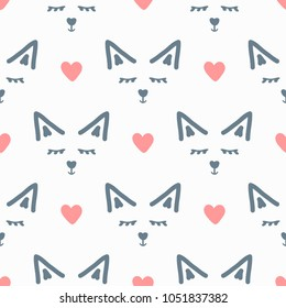 Faces of abstract animal and hearts. Cute seamless pattern. Drawn by hand, sketchy, doodle, scribble. Endless print. Vector illustration.
