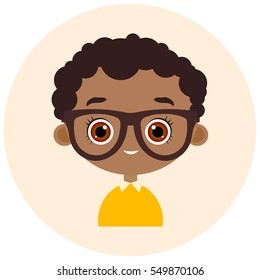 Faces Avatar in circle. Portrait African American boy with glasses. Vector illustration eps 10. Flat cartoon style.