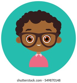 Faces Avatar in circle. Portrait young african american boy with glasses. Vector illustration eps 10. Flat cartoon style.