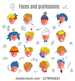Faces avatars set for many professions - vector illustration set