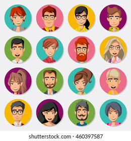 Faces of cartoon business people