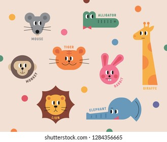 The faces of cute animals in infantile style concept illustration. flat design vector graphic style