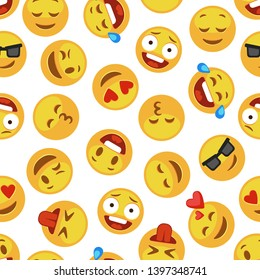 Faces emoji pattern. Funny cute smiley expression emotion chat messenger kid cartoon vector seamless wallpaper