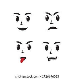 faces expressions illustration set vector