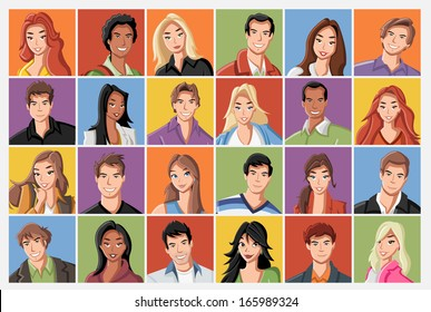 Faces of fashion cartoon young people.