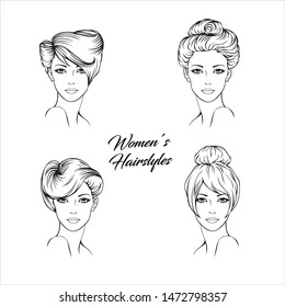 Faces of four young women with different, creative, fashionable hairstyle. Hairstyle set. Formal updo hairstyle . Women fashionable  hairstyle icon. Vector Illustration