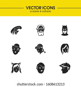 Faces icons set with old man, batman and chaplin elements. Set of faces icons and character concept. Editable vector elements for logo app UI design.