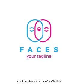 Faces. Logo template.