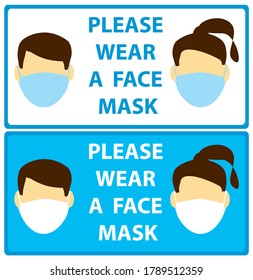 faces with mask - vector leaflets request man and woman wear mask