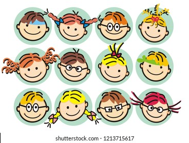 Faces od girls and boys, happy kids, vector illustration.  Isolated objects, heads of little children. Different expressions of children's faces on the blue background.