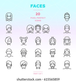Faces outline icon set of 20 thin modern and stylish icons. People with different hairstyles. Men and women. Boys and girls. Dark line version. EPS 10. Pixel perfect icons.