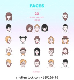 Faces outline icon set of 20 modern and stylish icons. People with different hairstyles. Men and women. Boys and girls. Brunettes and blondes. Color version. EPS 10.