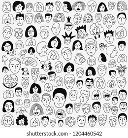 faces of people - doodle set