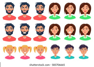 Faces of people expressing emotions set of icons on white. Faces of angry, happy, surprised, serious and upset man with dark hair and beard, woman with short hair, girl with two fair ponytails and boy