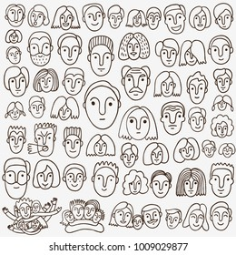 faces of people - hand drawn doodle set