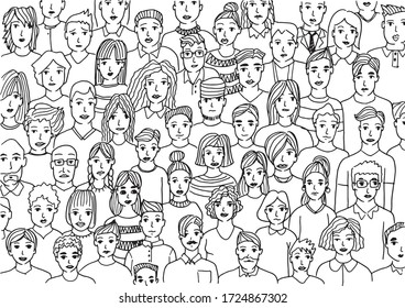 faces of people - hand drawn vector illustration