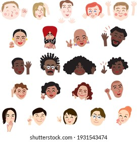 Faces of people in the world