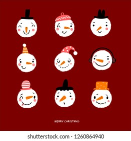 Faces snowmen new year poster