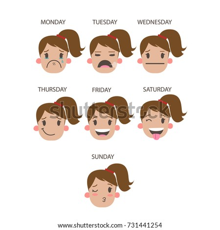 Faces Of Working Week Days Funny Cartoon Faces Of Woman