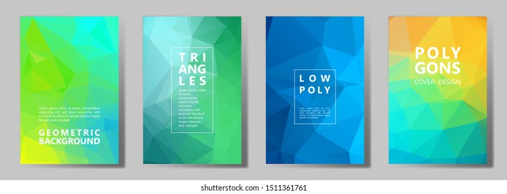 Facet low poly modern brochure covers vector graphic design set. Diamond texture polygonal patterns. Gradient triangle polygons facet geometric abstract backgrounds.