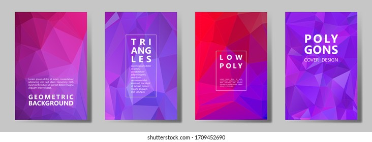 Facet low poly modern brochure covers vector graphic design set. Crystal texture polygonal patterns. Gradient triangle polygons facet geometric abstract backgrounds.