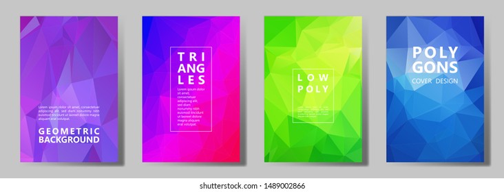 Facet low poly modern cover page layouts vector graphic design set. Diamond texture polygonal patterns. Gradient triangle polygons facet geometric abstract backgrounds.