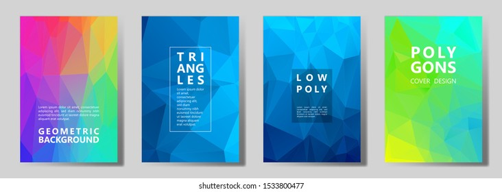 Facet low poly mosaic cover page layouts vector graphic design set. Crystal texture low poly patterns. Gradient triangle polygons facet geometric abstract backgrounds.
