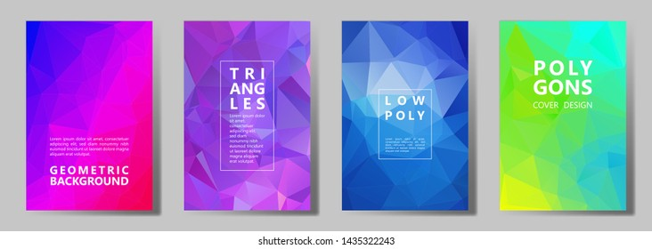 Facet low poly multicolor cover page layouts vector graphic design set. Crystal texture low poly patterns. Gradient triangle polygons facet geometric abstract backgrounds.