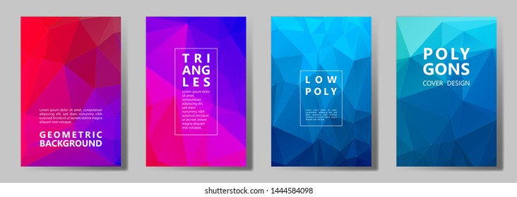 Facet low poly vivid cover page layouts vector graphic design set. Crystal texture low poly patterns. Gradient triangle polygons facet geometric abstract backgrounds.