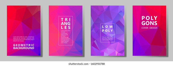 Facet triangles cool banners, posters, flyers vector graphic design set. Crystal texture polygonal patterns. Gradient triangle polygons facet geometric abstract backgrounds.