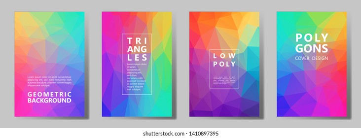 Facet triangles multicolor brochure covers vector graphic design set. Crystal texture low poly patterns. Gradient triangle polygons facet geometric abstract backgrounds in rainbow spectrum colors.