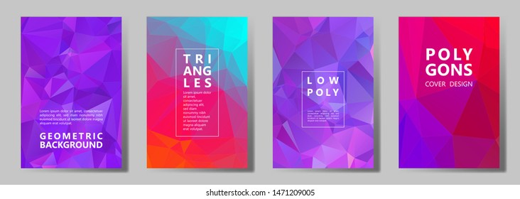Facet triangles vibrant brochure covers vector graphic design set. Crystal texture polygonal patterns. Gradient triangle polygons facet geometric abstract backgrounds.