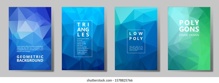 Facet triangles vivid cover page layouts vector graphic design set. Crystal texture polygonal patterns. Gradient triangle polygons facet geometric abstract backgrounds.