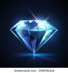 Faceted diamond with light effect