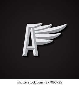 Faceted Letter A with Wing Logo. Corporate Symbol for Airlines. Vector Business Concert.