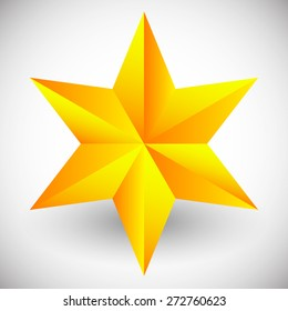 Faceted star vector illustration isolated on white with shadow