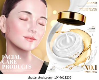 Facial care product ads, elegant model with lotion and essence combination product in 3d illustration, golden glitter background