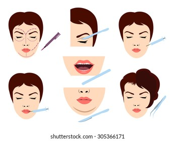 Facial cosmetic surgery vector icons. Female face microsurgery