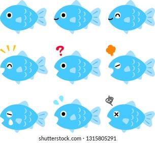Facial expression of fish character illustration set