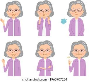 Facial expression of grandmother. Flat vector cartoon illustrations.