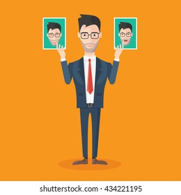 Facial expression icon man wearing a suit with photos in hand which shows different emotions vector illustration