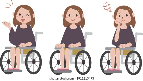 Facial expression of a young woman in a wheelchair