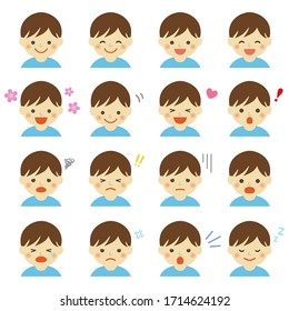 Facial expressions of boy / vector eps 10 illustration