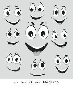 Facial expressions, cartoon face emotions