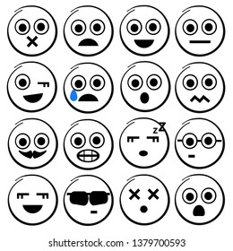 Facial expressions icon set.